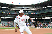 Joe Gray (11) of Hattiesburg High School in Hattiesburg, Mississippi warms up before the Under Armour All-American Game presented by Baseball Factory on July 23, 2016 at Wrigley Field in Chicago, Illinois.  (Mike Janes/Four Seam Images)