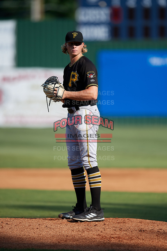 Bristol Pirates starting pitcher Shane Baz (10) gets ready to deliver a pitch during a game against the Elizabethton Twins on July 28, 2018 at Joe O'Brien Field in Elizabethton, Tennessee.  Elizabethton defeated Bristol 5-0.  (Mike Janes/Four Seam Images)