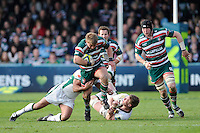 Tom Youngs of Leicester Tigers charges upfield during the LV= Cup Final match between Leicester Tigers and Northampton Saints at Sixways Stadium, Worcester on Sunday 18 March 2012 (Photo by Rob Munro, Fotosports International)