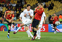 David Villa (7) of Spain shoots at goal. Spain defeated New Zealand 5-0 during the FIFA Conferderations Cups at Royal Bafokeng Stadium, in Rustenburg South Africa on June 14, 2009.