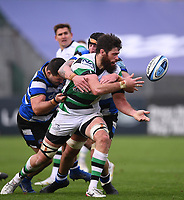 21st November 2020; Recreation Ground, Bath, Somerset, England; English Premiership Rugby, Bath versus Newcastle Falcons; Greg Peterson of Newcastle Falcons offloads in the tackle