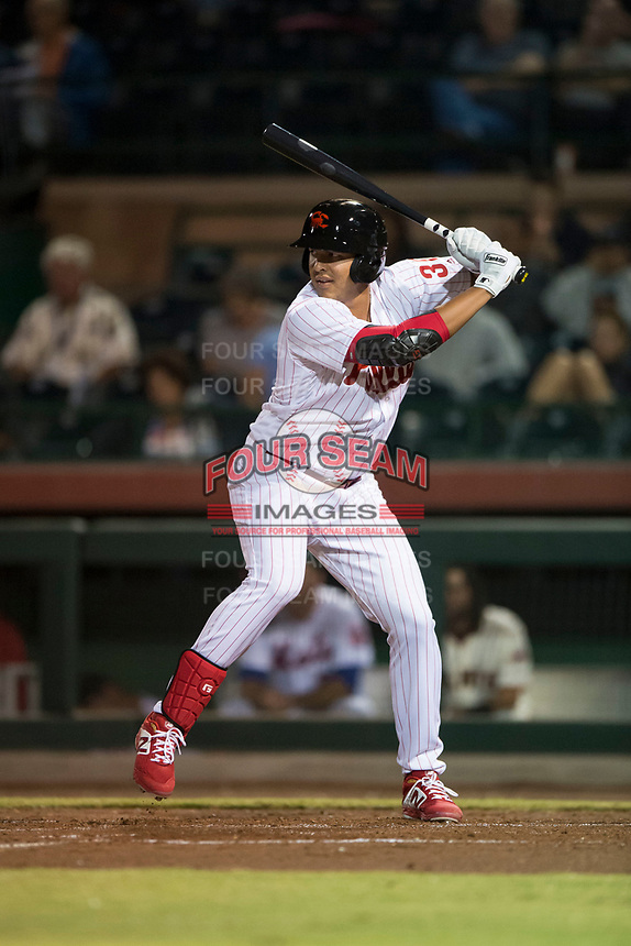 Scottsdale Scorpions designated hitter Darick Hall (30), of the Philadelphia Phillies organization, at bat during an Arizona Fall League game against the Mesa Solar Sox on October 9, 2018 at Scottsdale Stadium in Scottsdale, Arizona. The Solar Sox defeated the Scorpions 4-3. (Zachary Lucy/Four Seam Images)