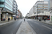 View of Oxford Street. The deserted streets show the severe effects of the COVID-19 epidemic on London on the morning of 19th March 2020