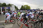 Riders line up for the start of the 2015 96th Milan-Turin 186km race starting at San Giuliano Milanese, Italy. 1st October 2015.<br /> Picture: Eoin Clarke | Newsfile
