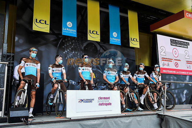 AG2R La Mondiale at the Team Presentation before the start of Stage 1 of Criterium du Dauphine 2020, running 218.5km from Clermont-Ferrand to Saint-Christo-en-Jarez, France. 12th August 2020.<br /> Picture: ASO/Alex Broadway   Cyclefile<br /> All photos usage must carry mandatory copyright credit (© Cyclefile   ASO/Alex Broadway)