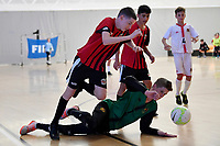 Jack Brown of Selwyn College during the Futsal NZ Secondary Schools Junior Boys Final between Hamilton Boys High School and Selwyn College at ASB Sports Centre, Wellington on 26 March 2021.<br /> Copyright photo: Masanori Udagawa /  www.photosport.nz