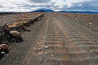 Kjolur Highland Road, The road begins in the south of Iceland near Haukadalur and behind the Gullfoss waterfall, ending in the north near Blndus. The road traverses the interior between two glaciers, Langjkull and Hofsjkull.