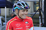 Amalie Dideriksen of Denmark at sign on for the start of the Women Elite Road Race of the UCI World Championships 2019 running 149.4km from Bradford to Harrogate, England. 28th September 2019.<br /> Picture: Eoin Clarke | Cyclefile<br /> <br /> All photos usage must carry mandatory copyright credit (© Cyclefile | Eoin Clarke)
