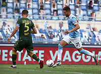 Football, Serie A: S.S. Lazio - Brescia, Olympic stadium, Rome, July 29, 2020. <br /> Lazio's Sergej Milinkovic-Savic (r) in action with Brescia's captain Daniele Gastaldello (l) during the Italian Serie A football match between S.S. Lazio and Brescia at Rome's Olympic stadium, Rome, on July 29, 2020. <br /> UPDATE IMAGES PRESS/Isabella Bonotto