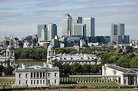 Docklands and the Royal Naval College seen from Greenwich Park, London, UK
