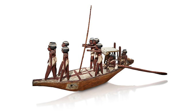 Ancient Egyptian wooden model boat from tomb of Shemes,  Middle Kingdom (1980-1700 BC), Asyut. Egyptian Museum, Turin.  white background<br /> <br /> In 1908 in Asyut, Egypt an intact tomb was discovered of an official named Shemes, it contained many rich grave goods. Two rectangular Coffins, one for Shemes and the other for a woman called Rehuerausen, possibly his wife. They carry typical Middle Kingdom decorations,