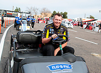 Feb 21, 2020; Chandler, Arizona, USA; Crew member for NHRA top fuel driver Brittany Force during qualifying for the Arizona Nationals at Wild Horse Pass Motorsports Park. Mandatory Credit: Mark J. Rebilas-USA TODAY Sports