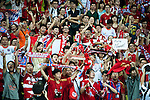 GUANGZHOU, GUANGDONG - JULY 26:  Chinese fans of Bayern Munich cheers during a friendly match against VfL Wolfsburg as part of the Audi Football Summit 2012 on July 26, 2012 at the Guangdong Olympic Sports Center in Guangzhou, China. Photo by Victor Fraile / The Power of Sport Images