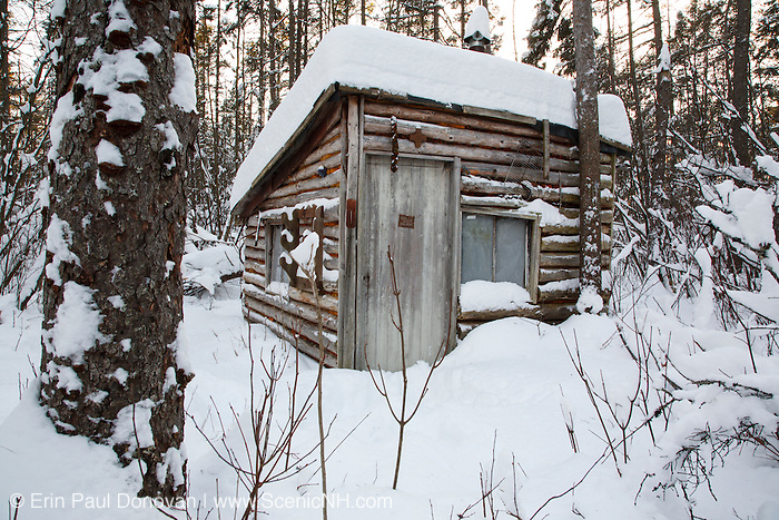 Hunting camp in Spuce Swamp in Fremont, New Hampshire USA during the winter months.