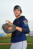 Connecticut Tigers catcher Patrick Leyland (10) prior to game against the Brooklyn Cyclones at MCU Park on July 28, 2011 in Brooklyn, NY.  Brooklyn defeated Connecticut 2-1.  Tomasso DeRosa/Four Seam Images