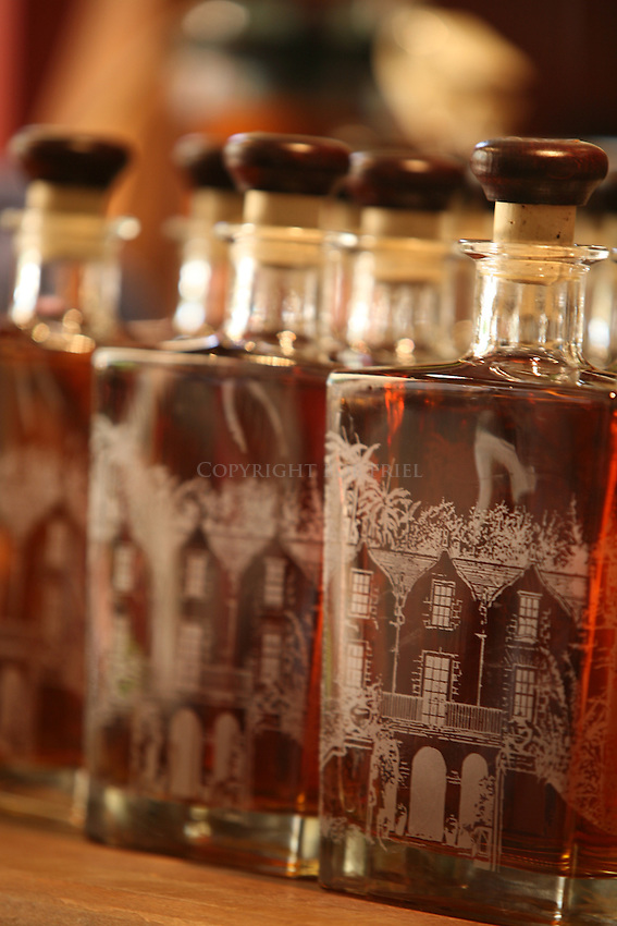 Etched bottles filled with aged rum bottled on premesis.Saint Nicholas Abbey.Saint Peter Parish.Barbados.
