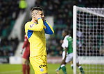 Hibs v St Johnstone…18.11.17…  Easter Road…  SPFL<br />Michael O'Halloran reacts after his shot is saved by Ofir Marciano<br />Picture by Graeme Hart. <br />Copyright Perthshire Picture Agency<br />Tel: 01738 623350  Mobile: 07990 594431