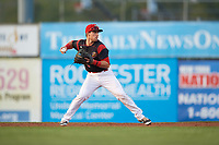 Batavia Muckdogs second baseman Denis Karas (25) throws to first base for the out during a game against the Mahoning Valley Scrappers on August 30, 2017 at Dwyer Stadium in Batavia, New York.  Batavia defeated Mahoning Valley 5-1.  (Mike Janes/Four Seam Images)