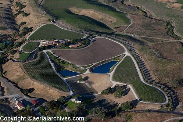aerial photograph of Crown Point Vineyards, Santa Ynez, Santa Barbara County, California