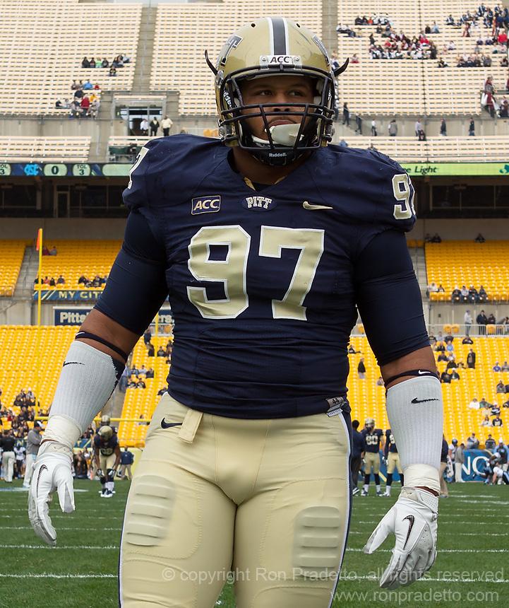 Pitt defensive tackle Aaron Donald. The North Carolina Tar Heels defeated the Pitt Panthers 34-27 at Heinz Field, Pittsburgh Pennsylvania on November 16, 2013.