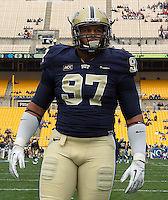 Pitt defensive tackle Aaron Donald. The North Carolina Tar Heels defeated the Pitt Panthers 34-27 at Heinz Field, Pittsburgh Pennsylvania on November 16, 2013.