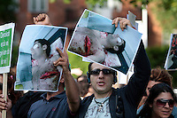 Protesters outside the Iranian embassy. Demonstration in Oslo, Norway, following the election in Iran. A protest arranged by Amnesty International Norway was held in front of the Norwegian Parliament, before Iranian diaspora and others marched to the Iranian embassy to continue their protest. .©Fredrik Naumann/Felix Features.