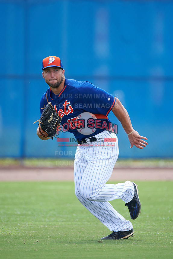 New York Mets left fielder Tim Tebow (15) during an Instructional League game against the Miami Marlins on September 29, 2016 at the Port St. Lucie Training Complex in Port St. Lucie, Florida.  (Mike Janes/Four Seam Images)