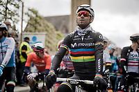 World Champion Alejandro Valverde (ESP/Movistar) at the race start in Roeselare<br /> <br /> 74th Dwars door Vlaanderen 2019 (1.UWT)<br /> One day race from Roeselare to Waregem (BEL/183km)<br /> <br /> ©kramon