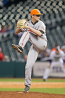 Sam Houston State Bearkats relief pitcher Seth Holbert #18 in action against the Texas Christian Horned Frogs at Minute Maid Park on February 28, 2014 in Houston, Texas.  The Bearkats defeated the Horned Frogs 9-4.  (Brian Westerholt/Four Seam Images)