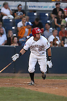 Connor Panas (12) of the Vancouver Canadians bats during a game against the Tri-City Dust Devils at Nat Bailey Stadium on July 23, 2015 in Vancouver, British Columbia. Tri-City defeated Vancouver, 6-4. (Larry Goren/Four Seam Images)