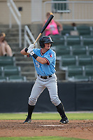 Blaine Prescott (25) of the Hickory Crawdads at bat against the Kannapolis Intimidators in game one of a double-header at Kannapolis Intimidators Stadium on May 19, 2017 in Kannapolis, North Carolina.  The Crawdads defeated the Intimidators 5-4.  (Brian Westerholt/Four Seam Images)