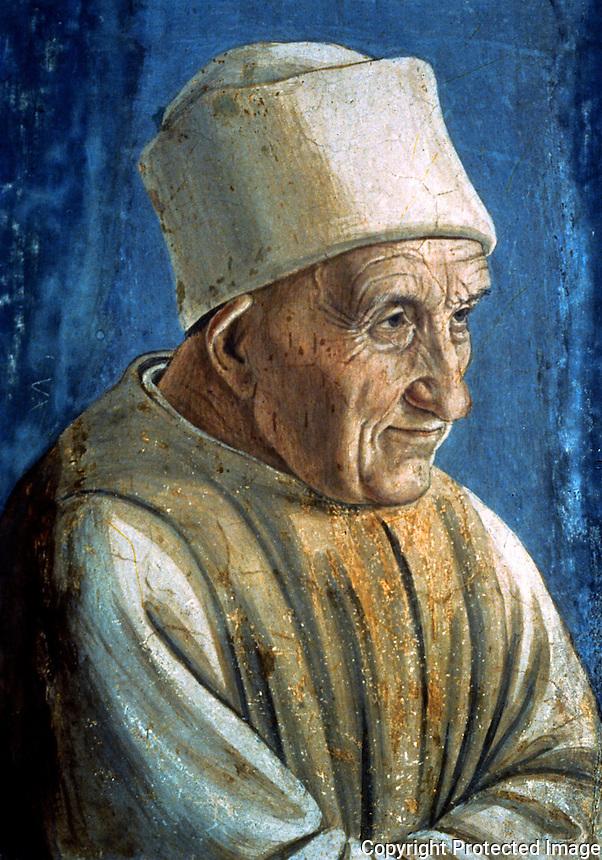 Renaissance Art:   Filippo Lippi--Portrait of an Old Man.  Galleria Uffizi.
