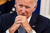 United States President Joe Biden speaks during a meeting in the Eisenhower Executive Office Building in Washington, D.C., U.S., on Wednesday, Oct. 6, 2021. Bidenis meeting with financial and corporate leaders to highlight the potential damage to the U.S. economy from a debt default as lawmakers continue brinkmanship over the debt limit. <br /> CAP/MPI/RS<br /> ©RS/MPI/Capital Pictures