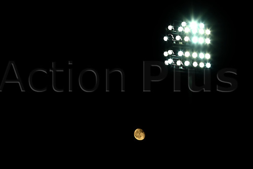 3rd November 2020; Carrow Road, Norwich, Norfolk, England, English Football League Championship Football, Norwich versus Millwall; The moon appears behind the flood lights at Carrow Road