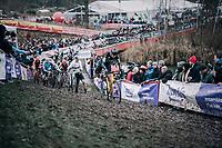 Toon Aerts (BEL/Telenet Fidea Lions) leading the way after the first corner<br /> <br /> Elite Men's Race<br /> Belgian National CX Championschips<br /> Kruibeke 2019