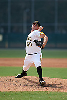 Pittsburgh Pirates pitcher Matt Seelinger (50) delivers a pitch during an Instructional League game against the New York Yankees on September 28, 2017 at Pirate City in Bradenton, Florida.  (Mike Janes/Four Seam Images)
