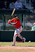 Boston Red Sox Michael Chavis (23) bats during a Major League Spring Training game against the Atlanta Braves on March 7, 2021 at CoolToday Park in North Port, Florida.  (Mike Janes/Four Seam Images)