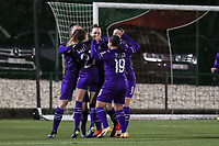 RSCA players celebrate the goal of Britt Vanhamel (4) of Anderlecht during a female soccer game between Oud Heverlee Leuven and RSC Anderlecht on the 12 th matchday of the 2020 - 2021 season of Belgian Womens Super League , sunday 31 st of January 2021  in Heverlee , Belgium . PHOTO SPORTPIX.BE | SPP | SEVIL OKTEM