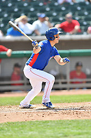 Tennessee Smokies first baseman Jason Vosler (22) swings at a pitch during a game against the Birmingham Barons at Smokies Stadium on May 6, 2018 in Kodak, Tennessee. The Smokies defeated the Barons 6-2. (Tony Farlow/Four Seam Images)