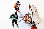 Bryan Crane of Cathay Flyers (L) battle in the goal mouth with Horrance Cheung Hk Tigers Goalie (R) during the Mega Ice Hockey 5s match between Cathay Flyers and HK Tigers on May 04, 2018 in Hong Kong, Hong Kong. Photo by Marcio Rodrigo Machado / Power Sport Images