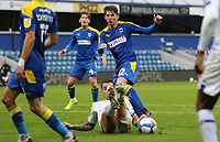 Oliver Norburn of Shrewsbury Town blocks Steve Seddon of AFC Wimbledon shot during AFC Wimbledon vs Shrewsbury Town, Sky Bet EFL League 1 Football at The Kiyan Prince Foundation Stadium on 17th October 2020