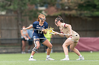 NEWTON, MA - MAY 22: First of many face offs between Andie Aldave #13 of Notre Dame  and Charlotte North #8 of Boston College during NCAA Division I Women's Lacrosse Tournament quarterfinal round game between Notre Dame and Boston College at Newton Campus Lacrosse Field on May 22, 2021 in Newton, Massachusetts.