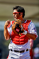 21 February 2019: Washington Nationals catcher Kurt Suzuki prepares to work on drills during a Spring Training workout at the Ballpark of the Palm Beaches in West Palm Beach, Florida. Mandatory Credit: Ed Wolfstein Photo *** RAW (NEF) Image File Available ***