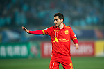Adelaide United Forward Sergio Cirio gestures during the AFC Champions League 2017 Group H match between Jiangsu FC (CHN) vs Adelaide United (AUS) at the Nanjing Olympics Sports Center on 01 March 2017 in Nanjing, China. Photo by Marcio Rodrigo Machado / Power Sport Images