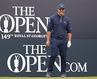 14th July 2021; The Royal St. George's Golf Club, Sandwich, Kent, England; The 149th Open Golf Championship, practice day; Bryson Dechambeau (USA) smiles as he waits to play from the 1st tee