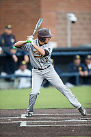 Central Michigan Chippewas infielder Grant Frazer (2) at bat against the Michigan Wolverines on May 9, 2017 at Ray Fisher Stadium in Ann Arbor, Michigan. Michigan defeated Central Michigan 4-2. (Andrew Woolley/Four Seam Images)