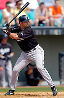 14 March 2006: Chris Ashby, outfielder for the Florida Marlins, at bat during a Spring Training game against the Washington Nationals. The Marlins defeated the Nationals 2-1 at Space Coast Stadium, in Viera, Florida...Mandatory Photo Credit: Ed Wolfstein..