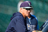 Tampa Bay Rays Manager Joe Maddon looks on during batting practice prior to the game against the Detroit Tigers at Comerica Park on June 4, 2013 in Detroit, Michigan.  The Tigers defeated the Rays 10-1.  Brian Westerholt/Four Seam Images