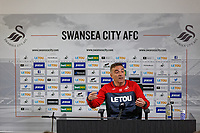 Manager Carlos Carvalhal speaks to reporters during the Swansea City Press Conference at The Fairwood Training Ground,Swansea, Wales, UK. Friday 11 May 2018