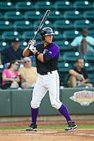 Kevan Smith (24) of the Winston-Salem Dash at bat against the Wilmington Blue Rocks at BB&T Ballpark on August 3, 2013 in Winston-Salem, North Carolina.  The Blue Rocks defeated the Dash 4-2.  (Brian Westerholt/Four Seam Images)